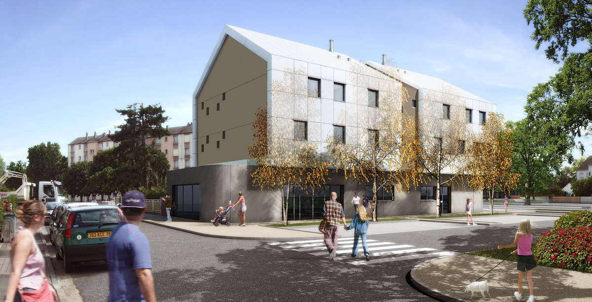 Créature Architectes - Construction de 3 logements collectifs et de locaux commerciaux - Fleury-les-Aubrais - 45